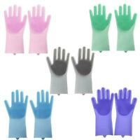 1Pair Silicone Rubber Dish Washing Gloves Scrubber Home Cleaning D7F0