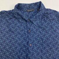 Axist Button Up Shirt Men's Size 2XL Short Sleeve Blue Casual 100% Rayon