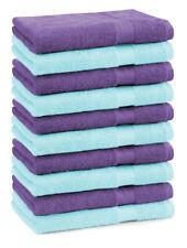 Betz 10 Toallas para invitados PREMIUM 100% algodón 30x50cm en morado y turquesa