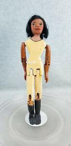 "12-1/2"" artist signed Black Americana Folk Art carved wood wooden jointed Doll"