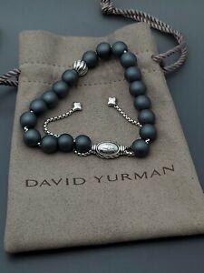 David Yurman Spiritual Beads Bracelet Matte Hematite accent bead Adjustable size