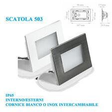 LAMPADA SEGNAPASSO LED 3W SCATOLA 503 INTERNI/ESTERNI IP65 230V LUCE NATURALE