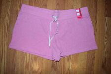NEW Womens EDDIE BAUER Heather Blush Pink Lounge Short Sweat Shorts Size XL
