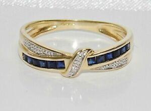 9ct Gold Blue Sapphire & Diamond Crossover Eternity / Wedding Ring - size M