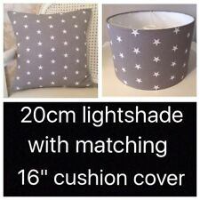 Handmade Grey & White Stars Lampshade (20cm) And Cushion Cover Set, Nursery