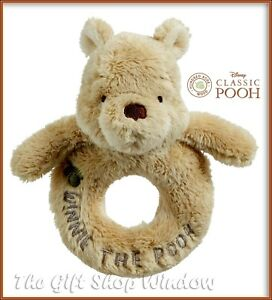 MY FIRST CLASSIC WINNIE THE POOH PLUSH RING RATTLE OFFICIAL DISNEY BNWT 0+ NEW