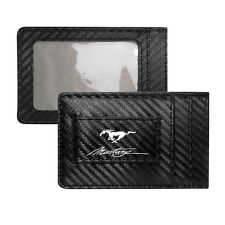 Ford Mustang Script Black Carbon Fiber RFID Card Holder Wallet with Money Clip