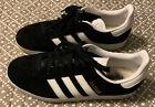 Womens Adidas Gazelle Sneakers Black White Gold Us Size 8 Ba9595 Euc