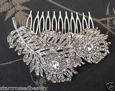 vintage argent diamant plume Peigne à cheveux Nuptial Années 1920 strass