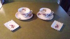 ANTIQUE VTG SET OF (2) PORCELAIN TEA CUPS, 2 SAUCERS & 2 TEA BAG HOLDERS JAPAN