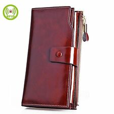 Aojiao Wallets for Women RFID Blocking Genuine Leather Clutch Wallet Card Holder