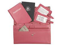 Personalised Monogrammed Genuine Leather Passport Travel Wallet 4pcs Set