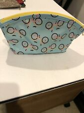 """9""""x5"""" Zip Make-up Pouch Lite Blue W/ Pink& Yellow Bicycles"""