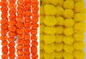 10 strings Artificial Yellow Orange Marigold Flowers Garland For Wedding Diwali