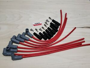 "16"" MSD 8.5mm LSX LS1 Universal Unassembled 90 Degree Spark Plug Boots wires RED"
