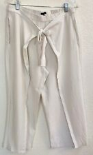 Eileen Fisher Wrap Pants Washable Stretch Crepe White Size M          JC1354