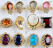 wholesale jewelry lots 5pcs Gold Plated Big Natural stone Rings Top Quality