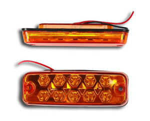 PAIR OF 24V LED 10 SMD YELLOW AMBER SIDE MARKER LIGHTS SCANIA MAN VOLVO DAF FORD