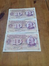 3 x 10 Switzerland Francs Banknotes, series 94L, 96P & 73P