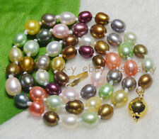 Natural Pearl 6-7mm Multicolored Genuine Freshwater cultured Pearl Necklaces 18""