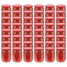 vidaXL 48x Jampot met Rode Deksel Glas Jampotten Glazen Opbergpot Pot Potten