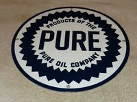 "VINTAGE ""PURE OIL COMPANY"" GAS 11 3/4"" PORCELAIN METAL GASOLINE PUMP PLATE SIGN!"