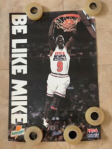 "1992 Gatorade/USA Basketball POSTER BE LIKE MIKE MICHAEL JORDAN 17"" x 25"" RARE"