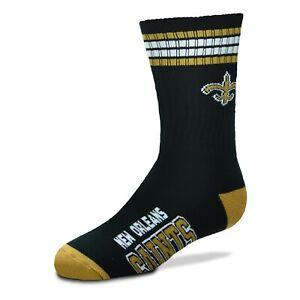 New Orleans Saints Men's Crew Socks Large Size 10 to 13 4 Stripe