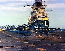 "U.S. Navy Vought F4U-4 Corsair crashes USS Bennington 8""x10"" Korean War Photo 14"