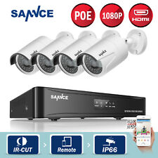 SANNCE Real 1080P HD PoE 4CH NVR 4 Outdoor IP Cameras CCTV Home Security System
