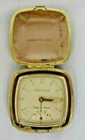 Vintage Wind Up Westclox Time N Temp Folding Portable Clock Brown Case  MT