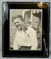 Vintage Antique Black White Photograph of Boy with Kitten Cat Framed 8 x 10