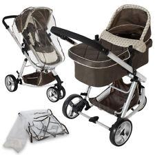 Poussette 3 en 1 d'enfants Combinée pliable combinable canne de voyage bébé brun