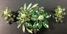 Vintage Rhinestone Costume  Shades Of Green With Faux Pearls Brooch And Earrings