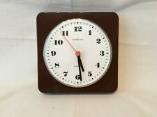 Vintage 70's Brown Wall Clock German Square Plastic, Retro Kitchen (AA Battery)