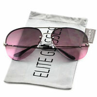 Elite Gradient Oceanic Lens Oversized Rimless Metal Frame Aviator Sunglasses