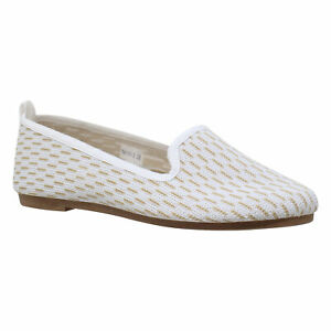 Women Flat Shoes Sweater Foldable Rubber Sole Slip On Casual Shoes White Knit