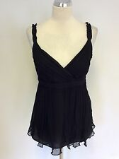 WHISTLES BLACK SILK CAMISOLE FLOATY TOP SIZE 10