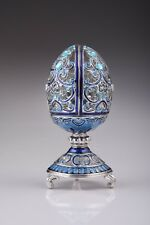 Blue Faberge Egg Trinket Box & Clock Handmade by Keren Kopal Austrian  Crystals