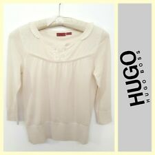 Hugo Boss $225 ivory soft cotton knit top~XS