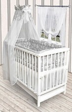 5tlg.Bettwäsche Set mit Rundum Nestchen 420cm + Himmel Neu für Babybett 140x70