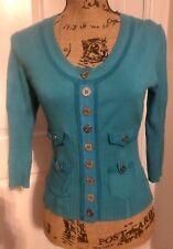 Karen Millen Turquoise Cardigan Top Size 3 10-12