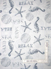 Beach Ocean Seahorse Starfish Gray Cotton Fabric Wilmington Sand & Sea - Yard