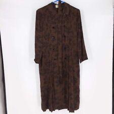 Vintage Albert Nipon Womens Shift Dress Brown Black Geometric Pleated Midi 8