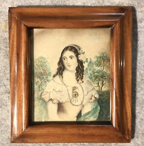 Antique Watercolour Late Georgian Portrait Of A Lady antique Frame Of Same Date
