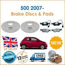 For Fiat 500 0.9 1.2 2007- Two Front 257mm Coated Brake Discs & Brake Pads