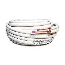 PAIR / TWIN COIL WHITE INSULATED COPPER PIPE TUBE 3/8 X 1/2 20M ROLL 9MM WALL