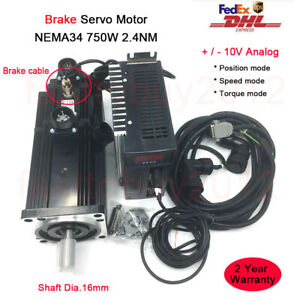 750W Z axis Brake Motor Servomotoren 2.4NM NEMA34 AC Servo Drive for CNC Mill