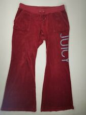 """Juicy Couture Red Burgundy Velour Pants Sz L  Back Snap Pockets Flare 32"""" Ins"""