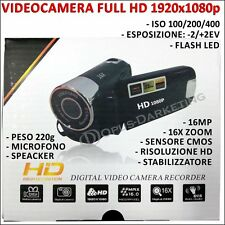 VIDEOCAMERA FULLHD 1080p 16 MEGAPIXEL ZOOM 16X CMOS STABILIZZATORE MICROFONO LED
